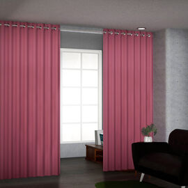 Set of 2 Blackout Curtain with 8 Metal Rings - Pink