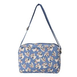 Water Resistant Blue Colour Dog Pattern Multi Pocket Crossbody Bag with Adjustable Shoulder Strap (S
