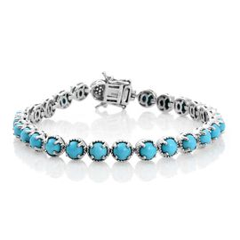 Arizona Sleeping Beauty Turquoise (Rnd), Natural Cambodian Zircon Bracelet (Size 7.5) in Platinum Overlay Sterling Silver 10.500 Ct, Silver wt 14.70 Gms.