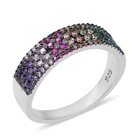 ELANZA Multi Colour Simulated Diamond (Rnd) Ring in Rhodium and Black Overlay Sterling Silver