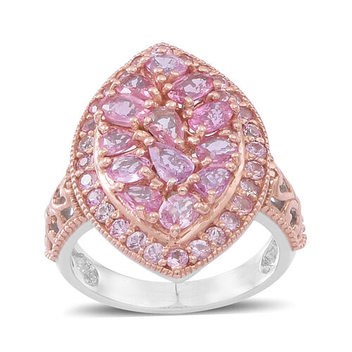 Pink Sapphire (Pear) Ring in Rhodium and Rose Gold Overlay Sterling Silver 4.000 Ct.