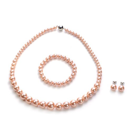 3 Piece Set - Peach Shell Pearl Stretchable Bracelet (Size 7), Necklace (Size 20 with Magnetic Lock)