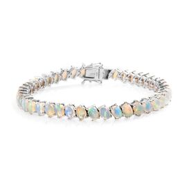 11.50 Ct Ethiopian Welo Opal Tennis Bracelet in Platinum Plated Sterling Silver 7.5 Inch