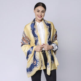 Saddle Pattern Scarf in Yellow, Blue & Multi (Size: 87x180cm)