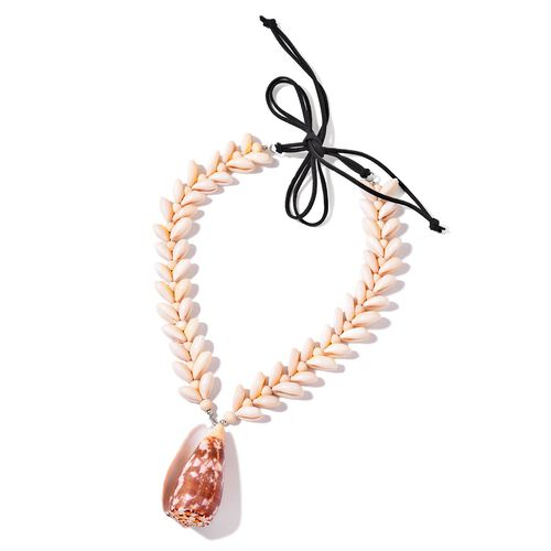 Conch Shell, Puka Shell and Wooden Beads Necklace (Size 18) in Silver Tone
