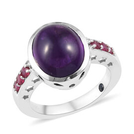 GP 5.50 Ct African Amethyst and Multi Gemstone Solitaire Design Ring in Platinum Plated Silver