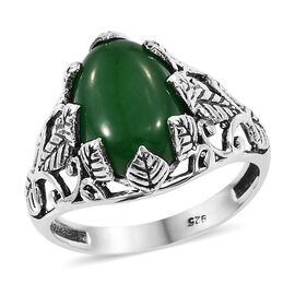 Artisan Crafted Green Jade (Ovl) Ring (Size O) in Sterling Silver 7.270 Ct.