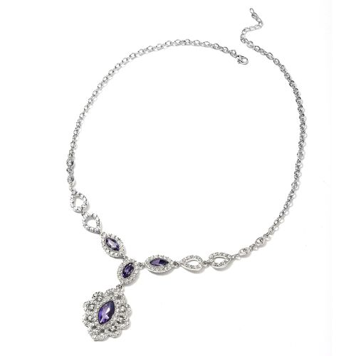 Simulated Amethyst and White Austrian Crystal Necklace in Silver Tone Size 22 with 2.5 inch Extender