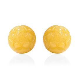 Honey Jade Jade Stud Earrings (with Push Back) in Rhodium Overlay Sterling Silver 41.00 Ct.