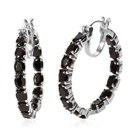 Elite Shungite (Ovl) Hoop Earrings (with Clasp) in Platinum Overlay Sterling Silver 6.00 Ct, Silver