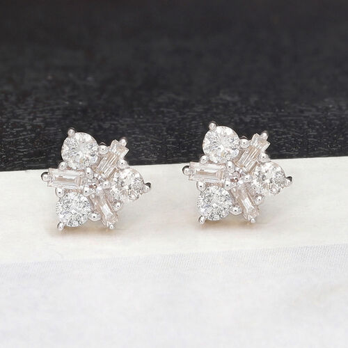 9K Yellow Gold SGL Certified Natural Diamond (I2-I3/G-H) Star Stud Earrings (with Push Back) 0.50 Ct.