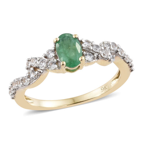 9K Yellow Gold AAA Kagem Zambian Emerald (Ovl), Natural Cambodian Zircon Solitaire Ring 1.000 Ct.