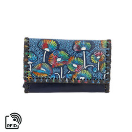 SUKRITI 100% Genuine Leather RFID Protected Poppy Wallet (Size 10.5x17x2.5cm) - Navy Blue