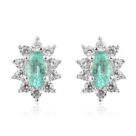 Colombian Emerald and Natural Cambodian Zircon Earrings (with Push Back) in Platinum Overlay Sterlin
