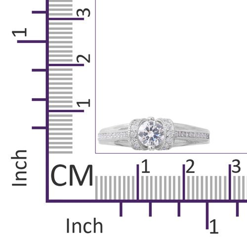 ELANZA Simulated White Diamond (Rnd) Ring in Rhodium Plated Sterling Silver