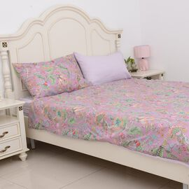 4 Piece Set - Lilac Colour Floral Pattern Single Duvet Cover (Size 135x200 Cm), 2 Pillow Case (Size