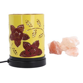 Handcrafted Floral Pattern Table Lamp With Rock Salt (Size15x10x13cm) - Yellow and Brown