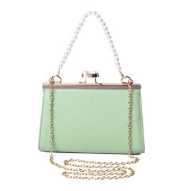 Boutique Inspired- Green Colour Clutch Closure Crossbody Bag with Dangling Pearl Chain and Metallic