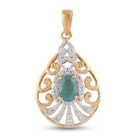Grandidierite and Natural Cambodian Zircon Pendant in 14K Gold Overlay Sterling Silver 1.26 Ct.