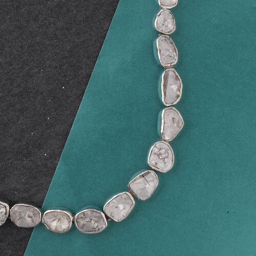 Artisan Crafted Polki Diamond Necklace (Size 18) in Sterling Silver 10.00 Ct, Silver Wt. 38.70 Gms