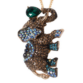 Simulated Emerald (Pear), Multi Austrian Crystal Elephant Brooch or Pendant With Chain (Size 24) in