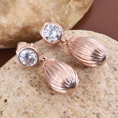 Super Auction-J Francis - Rose Gold Overlay Sterling Silver (Rnd) Earrings (with Push Back) Made with SWAROVSKI ZIRCONIA.Silver Wt 7.01 Gms