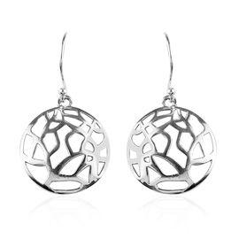 Circle Shape Filigree Hook Earrings in Sterling Silver