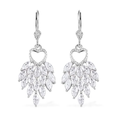 J Francis Platinum Overlay Sterling Silver Lever Back Dangle Earrings made with SWAROVSKI ZIRCONIA 6
