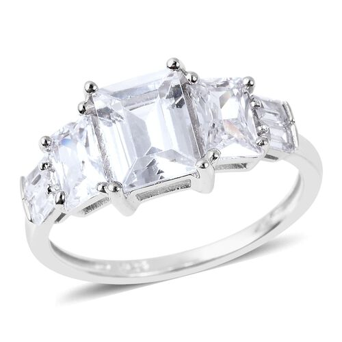 ELANZA Simulated Diamond Classic Ring in Rhodium Plated Sterling Silver