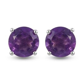Amethyst Stud Earrings (with Push Back) in Platinum Overlay Sterling Silver 1.560 Ct.