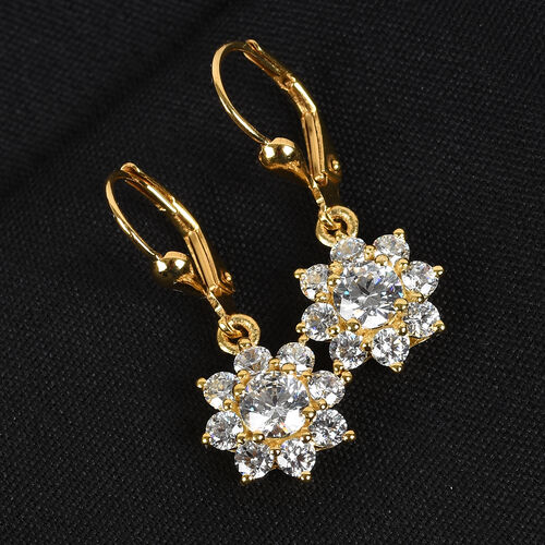 J Francis - 14K Gold Overlay Sterling Silver Lever Back Floral Halo Earrings Made with SWAROVSKI ZIRCONIA 4.26 Ct.