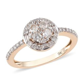 0.50 Ct Diamond Floral Cluster Ring in 9K Yellow Gold Certified 2 Grams I2 I3 GH