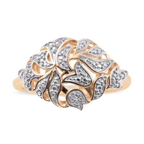 Diamond Filigree Ring in 14K Gold Plated Silver