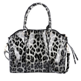 Black and White Leopard Pattern Tote Bag with Zipper Closure and Detachable Shoulder Strap (Size32x2