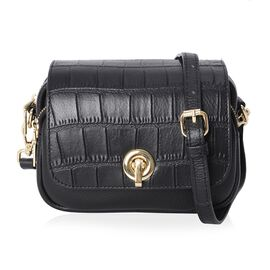 100% Genuine Leather Croc Embossed Crossbody Bag with Long Detachable Strap (Size 19x6x15 Cm) - Blac