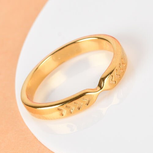 14K Gold Overlay Sterling Silver Arrow Band Ring