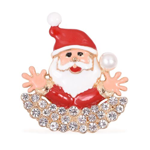 White Austrian Crystal (Rnd) Simulated Pearl Santa Claus Brooch Cum Pendant in Gold Tone