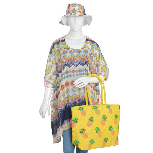 100% Cotton Off White, Yellow and Multi Colour Circle Pattern Apparel (Free Size), Cap (Size 36x34 Cm) and Pineapple Pattern Jute Handbag (Size 48x40x34x15 Cm)