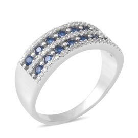 ELANZA Simulated Blue Sapphire (Rnd), Simulated Diamond Double Row Half Eternity Ring in Rhodium Ove