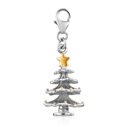 Christmas Tree 2 Tone Silver Charm Pendant in Platinum and Yellow Gold Overlay 3.74 Gms.