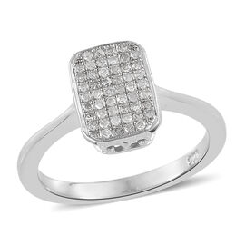 Designer Inspired- MicroPave Set Diamond (Rnd)  Ring in Platinum Overlay Sterling Silver Number of Diamonds- 50