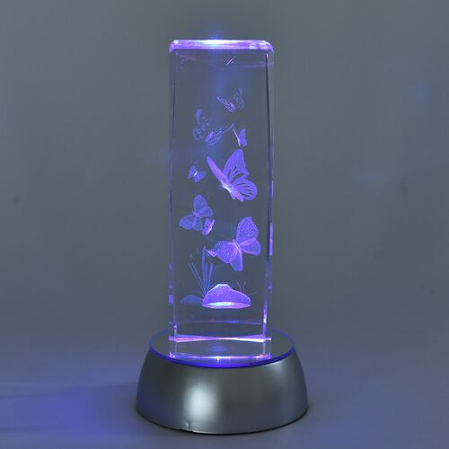 Home Decor - Butterfly Crystal Multicolour LED Night Light (3xAA Battery not Included) (Size 15x5 Cm)