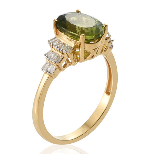Rare Size Hebei Peridot (Ovl), Diamond Ring in Yellow Gold Vermeil Sterling Silver 3.000 Ct.
