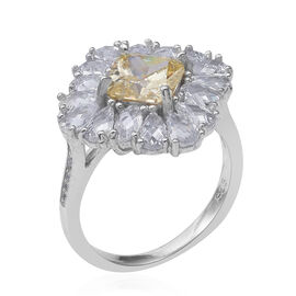 ELANZA Simulated Canary Diamond (Sqr), Simulated Diamond Ring (Size P) in Rhodium Overlay Sterling Silver