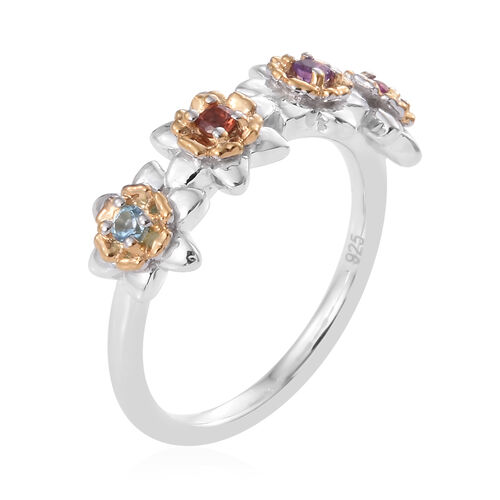 Mozambique Garnet (Rnd), Rhodolite Garnet, Amethyst and Blue Topaz Floral Ring in Platinum and Yellow Gold Overlay Sterling Silver