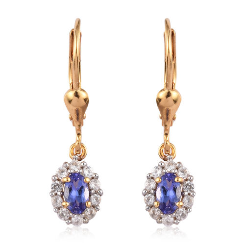 AAA Tanzanite and Natural Cambodian Zircon Lever Back Drop Earrings in 14K Gold Overlay Sterling Sil