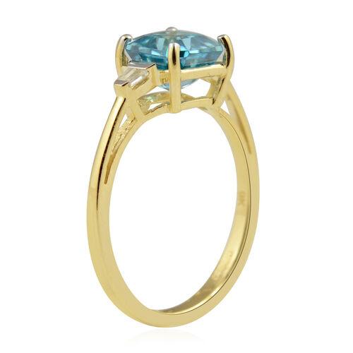 9K Yellow Gold AAA Ratanakiri Blue Zircon and Natural Cambodian Zircon (Asscher Cut) Ring 2.50 Ct.