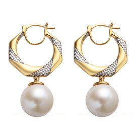 Edison Pearl Hoop Earrings in Platinum and Gold Plated Sterling Silver