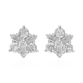 9K Yellow Gold SGL Certified White Diamond (I2-I3/G-H) Star Stud Earrings (with Push Back) 0.50 Ct.