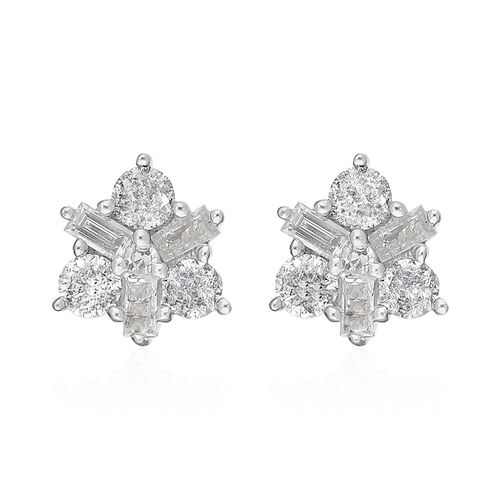 9K Yellow Gold SGL Certified Natural Diamond (I2-I3/G-H) Star Stud Earrings (with Push Back) 0.50 Ct
